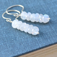 Moonstone Earrings, Sterling Silver, Faceted Gemstone, Moonstone Stacked Earrings, Hammered French Hook
