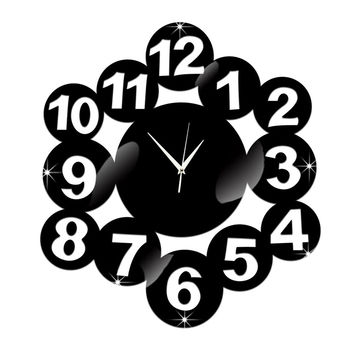 Digit Mirror Living Room DIY Quartz Wall Clock   black