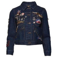 Indie Designs Marc Jacobs Inspired Shrunken Denim Jacket with Pins