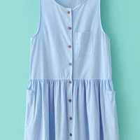 Light Blue Scoop Neck Sundress