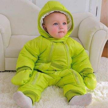 Fashion 2018 New style Winter jumpsuit autumn 0-24M baby snowsuit , baby winter coveralls, warm jacket, infant girl boys clothes