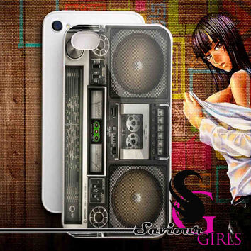Boombox Case Retro Stereo for iPhone 4/4S, 5/5S, 5C and Samsung Galaxy S3, S4 - Rubber and Plastic Case