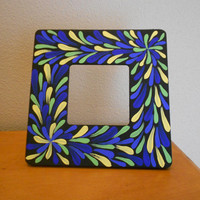 Painted Frame Flower Peacock Aboriginal Inspired by Acires on Etsy