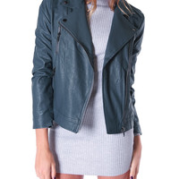 Mad About Bikers Faux Leather Moto Jacket - Teal