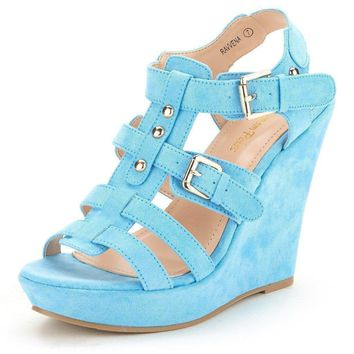Blue Open Toe Platform Summer Time Wedge Sandals