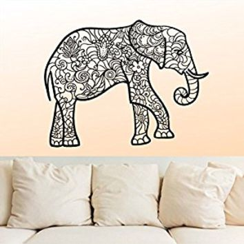 Wall Decal Vinyl Sticker Decals Art Decor Design Mural Ganesh Om Elephant Tattoo Mandala Tribal Buddha Karma India Bedroom Dorm (r1086)