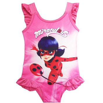 2018miraculous Ladybug Dress baby girl one piece Kids girls unicorn swim suit swimming Wear Children moana Girl Bikini Biquinis