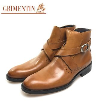 Fashion genuine leather men ankle boots Italian designer brown black men shoes for business office