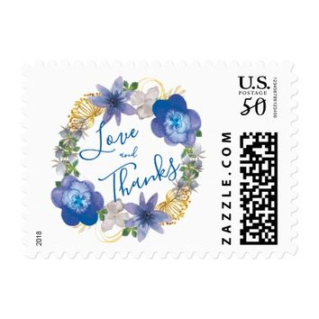 Blue Gold Hydrangeas Floral Love and Thanks Postage