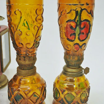 Vintage Amber Glass Oil Lamps -- Stained Glass, Red, Green -- Antique, Rustic, Primitive Decoration