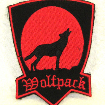 WOLF PACK red on black Small Badge Patch for Biker Vest SB726