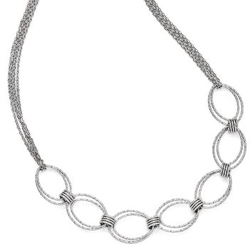 Textured Oval Link Multi Strand Necklace in Sterling Silver, 17-19 in
