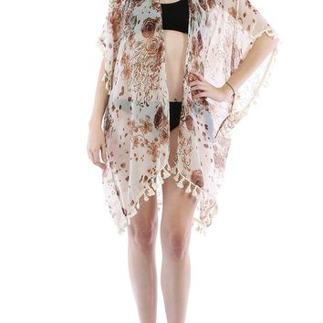 FLORAL PRINTPONCHO SHEER COVER UP