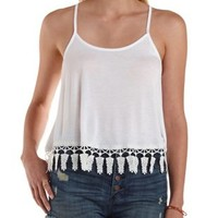 Crochet-Trim Racerback Tank Top by Charlotte Russe