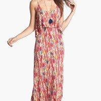 Mimi Chica Print Cutout Back Tiered Maxi Dress (Juniors) | Nordstrom
