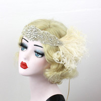 Hair Accessory - Feather Headband - Great Gatsby Bridal Head Piece - 1920's Flapper - Crystal Head Dress - Feather Fascinator - Champagne