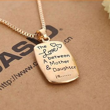 Love Between Mother and Daughter Gold/Silver Chain Pendant Necklace Best Gift