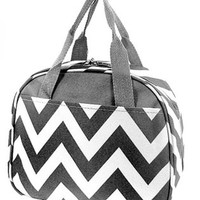 Chevron Print Insulated Canvas Lunch Tote Bag (Grey)