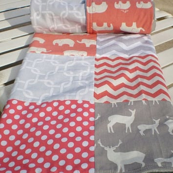 Baby quilt,coral,grey,Baby boy bedding,baby girl quilt,Patchwork Crib quilt,chevron baby blanket,organic,deer elk elephant,fleece,chevron