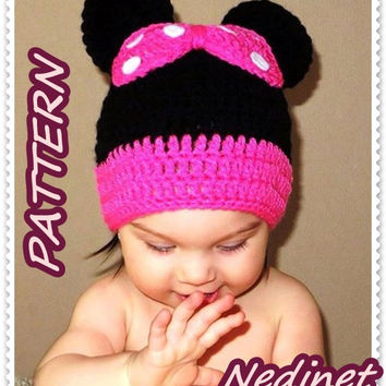 Minnie Mouse crochet hat PATTERN Pdf