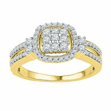 10kt Yellow Gold Womens Round Diamond Cushion-frame Cluster Split-shank Ring 1-2 Cttw