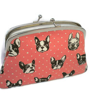 Cute dog coin purse in peach, 2 section frame wallet in white, canine faces, bull dog, boston terrier, boxer dog,
