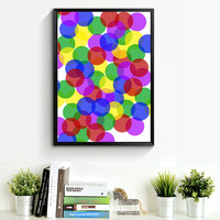Abstract Geometric Art, Colored Circles Minimalist Wall Art Print Wall Decor Gallery Wall Gift Kunst Graphics Scandinavian Style Art *43*