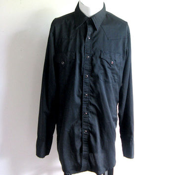 Vintage 1980s Jet Black Shirt Mens Country Western Johnny Cash Black Shirt Large