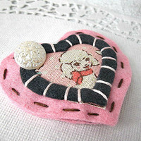 Shabby Little Lamb Hair Clip - Pink And Black, Vintage Inspired - Felt, Girly, Kawaii, Pretty, Butto | Luulla