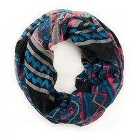 D&Y Mixed Navy Blue Tribal Print Infinity Scarf