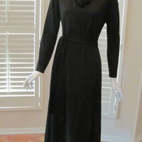 CLEARANCE SALE 66% OFF Cowl Neck Black Dress Maxi Long Sleeve Designer Vintage 1960s Fred Rothschilds