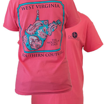 SALE Southern Couture West Virginia Preppy Paisley State Pattern Mountain State Girlie Bright T Shirt