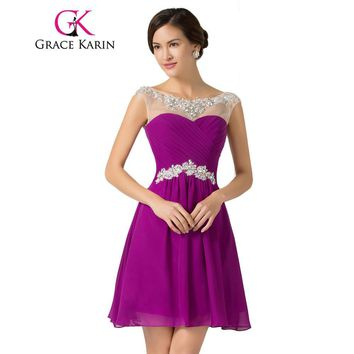 Grace Karin Short Prom Dresses 2017 Knee Length  Blue Violet Purple Dance Sexy Homecoming Gown Beading Chiffon Prom Dress 2017