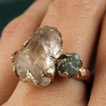 Raw Morganite Diamond Rose Gold Engagement Ring Wedding Ring Custom One Of a Kind Gemstone Ring Bespoke 14k Pink Conflict Free byAngeline