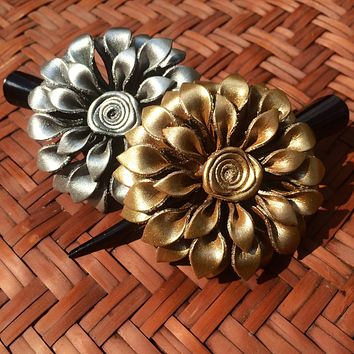 Leather Flower Hair Clip - Dahlia Silver and Gold