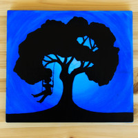 Lost Child Painting, Hand Painted Home Decor, Wood Wall Art, Silhouette wall decor, No more lost children, Dark Tree Art, Home and living