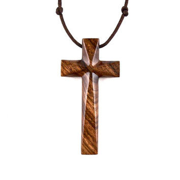 Large Wood Cross Necklace, Wooden Cross Pendant, Large Cross Necklace, Mens Cross Pendant Necklace, Christian Jewelry, Hand Carved Cross
