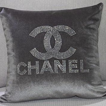 Fashion C Velvet Crystal Diamond Pillow