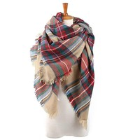 Plaid Blanket Winter Scarf Warm Cozy Tartan Wrap Oversized Shawl Cape