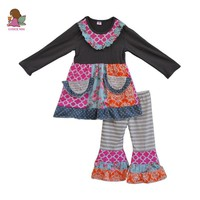 Boutique clothing Fall Girl's Outfit.   2 pieces clothing set with pockets and ruffled pants