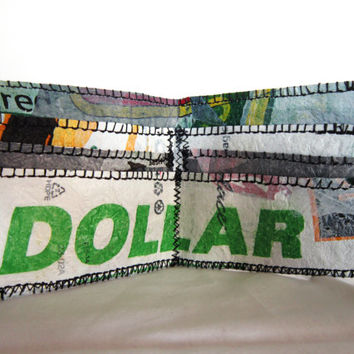 Plastic Billfold Wallet, Fused Plastic Wallet from Upcycled Recycled Plastic Bags, Repurposed Plastic, Green Dollar Wallet Eco Chic BIllfold