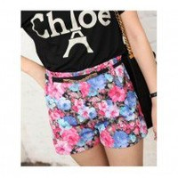 Sleek Floral Pattern High Waist Short Pant 2 Colors