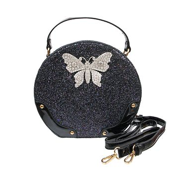 Black Glitter Vegan Leather Round Handbag with Rhinestone Butterfly Detail