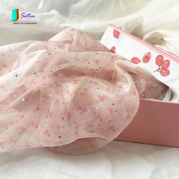 Printed Hot Diamond Sprinkle Gold Sprinkle Organza Fabric Floral Hanfu Big Sleeve Shirt Small Cloth Doll Dress Cloth Pink S626P