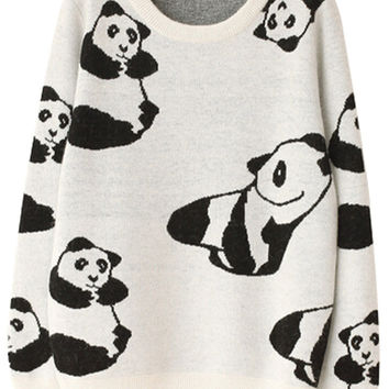 Lovely Graphic Panda Print Women Knit Sweater