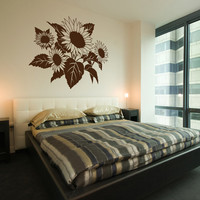 Large Sunflowers And Leaves Wall Decal - Vinyl Wall Art Decal Sticker | Luulla