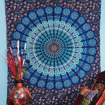 Labnanshi Indian Droplet Style Twin Hanging Tapestry - Floral block print wall hanging, bohemian tapestries, wall tapestry