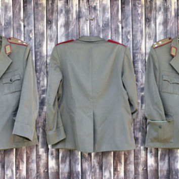 Vintage man's Bulgarian army Tank Assault field jacket military coat olive green canvas jacket military jacket camo army Halloween costume