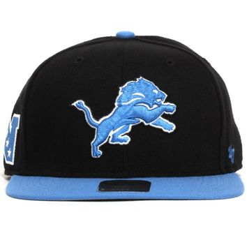 Detroit Lions Super Shot Two-Tone Strapback Hat Black / Blue