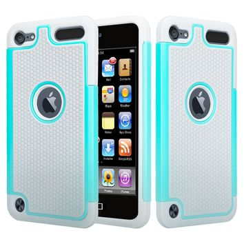 Apple iPod Touch 5 / Touch 6 Case, Heavy Duty Dual Layer Armored Protective Hybrid Case Cover For iPod Touch 5 / Touch 6 - Teal/Grey (Teal on Grey Stealth Armor)
